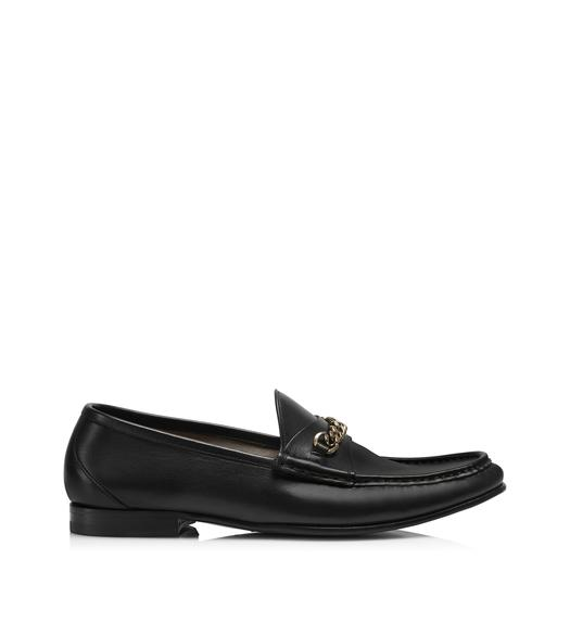 LEATHER YORK CHAIN LOAFERS