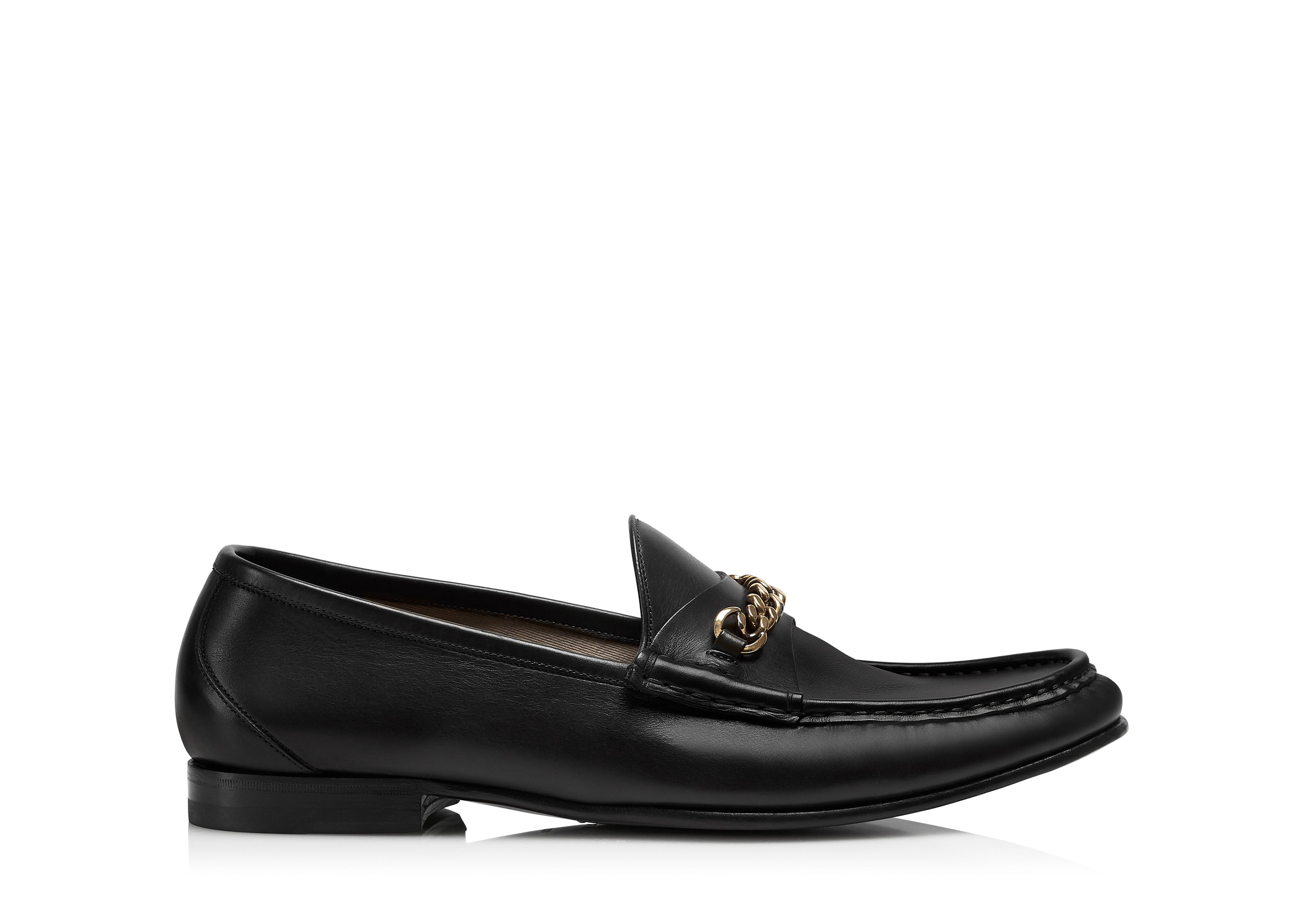 LEATHER YORK CHAIN LOAFERS A thumbnail