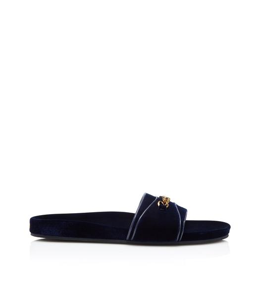 VELVET CHURCHILL CHAIN SANDALS