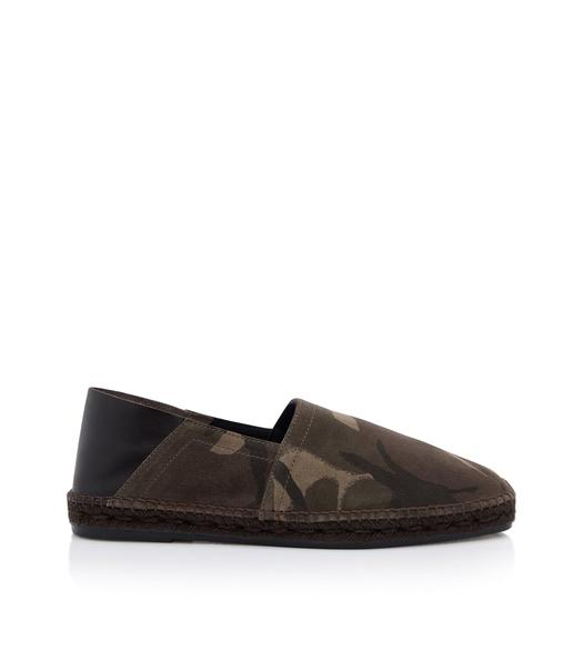 BARNES CAMOUFLAGE AND LEATHER ESPADRILLES