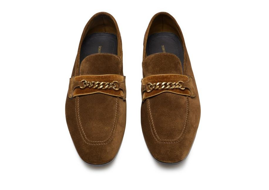 9bfc9997fda32 Tom Ford SUEDE WILTON CHAIN LOAFERS | TomFord.com