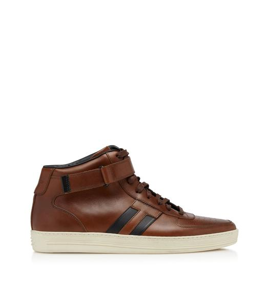 RADCLIFFE BURNISHED LEATHER HIGH TOP SNEAKERS