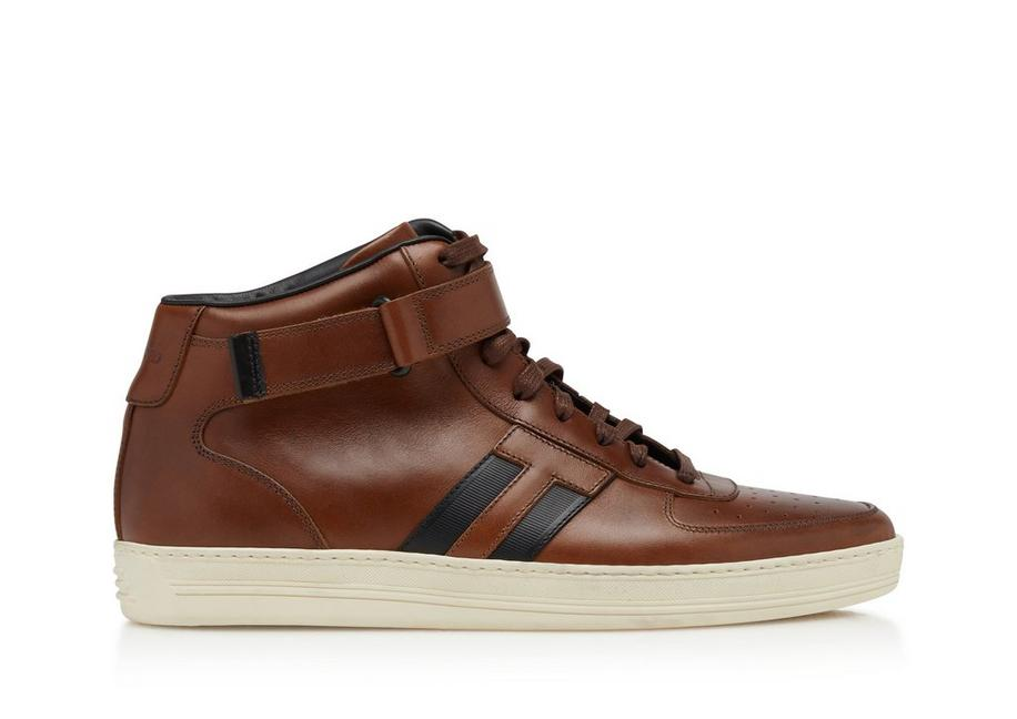 RADCLIFFE BURNISHED LEATHER HIGH TOP SNEAKERS A fullsize