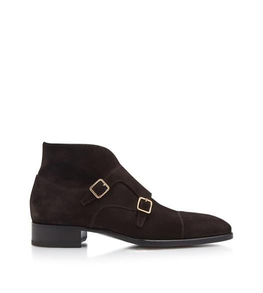 SUEDE ELKAN DOUBLE MONK STRAP BOOT