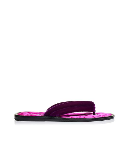 VELVET AND SATIN QUILTED BRIGHTON SANDAL