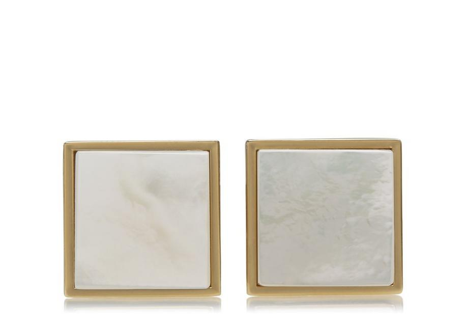 GOLD AND PEARL SQUARE CUFFLINKS A fullsize