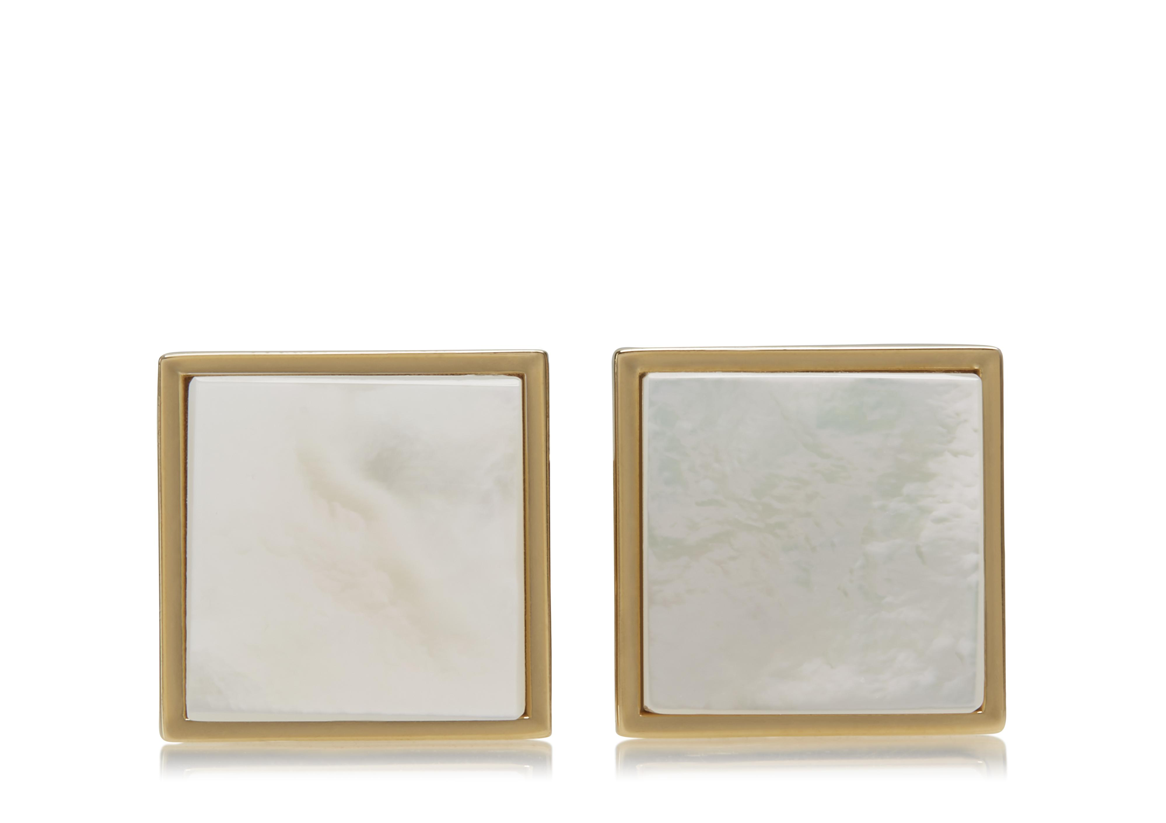 GOLD AND PEARL SQUARE CUFFLINKS A thumbnail