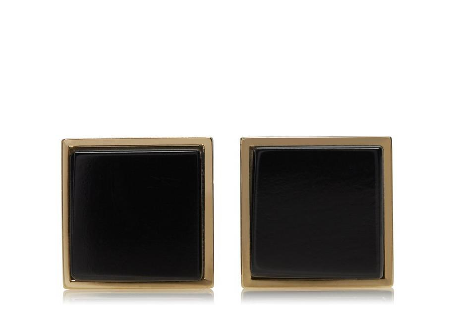 GOLD AND ONYX SQUARE CUFFLINKS A fullsize