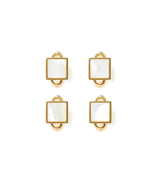GOLD AND PEARL SQUARE STUDS