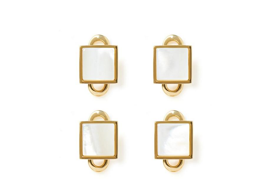 GOLD AND PEARL SQUARE STUDS A fullsize
