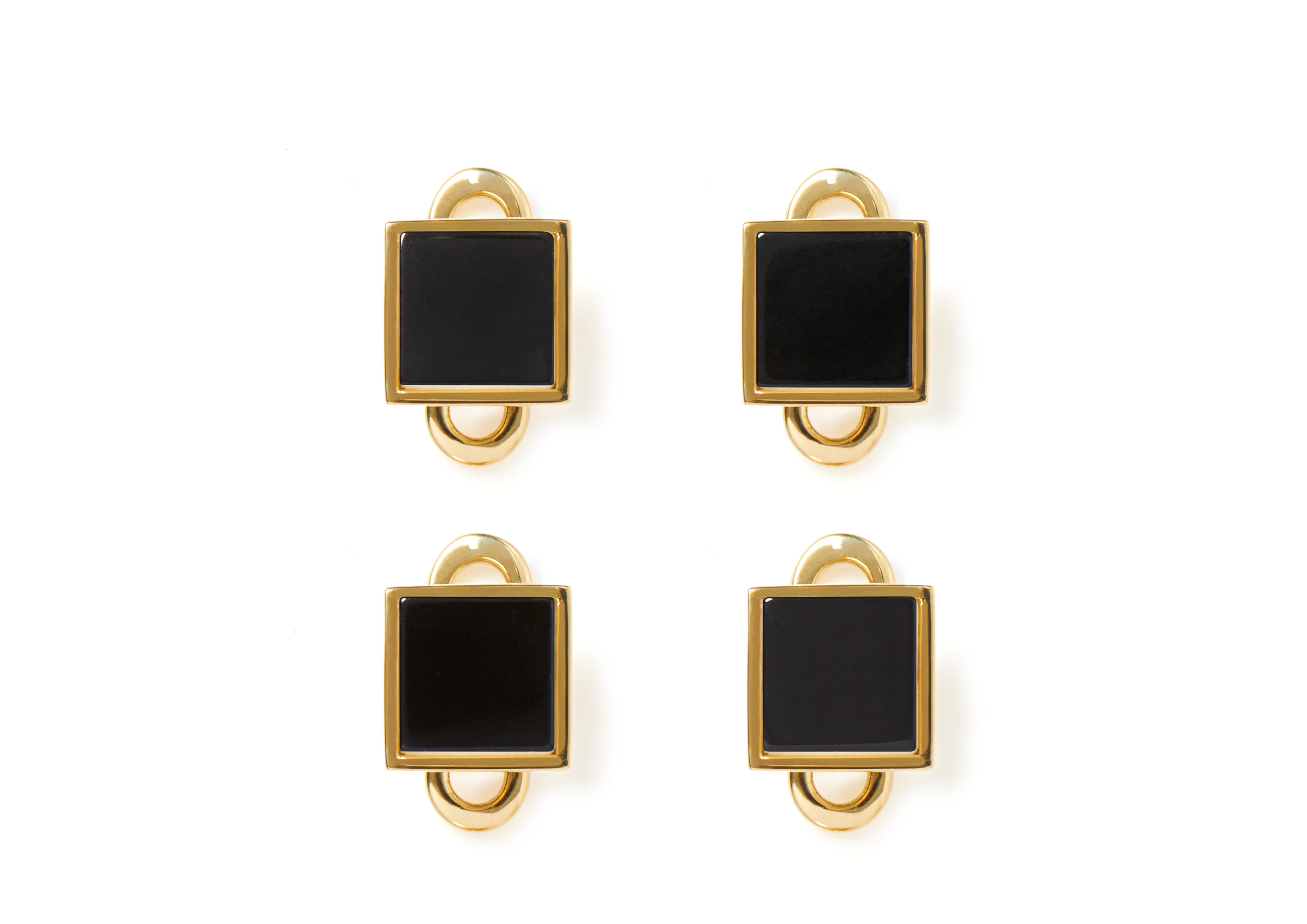 GOLD AND ONYX SQUARE STUDS A thumbnail