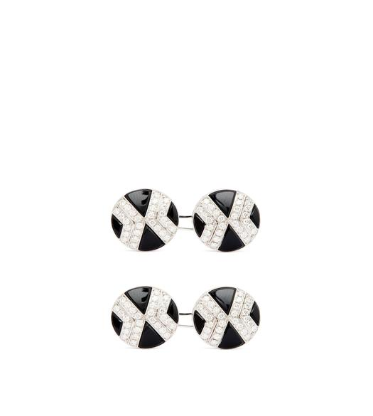 DIAMOND ROUND CUFFLINKS