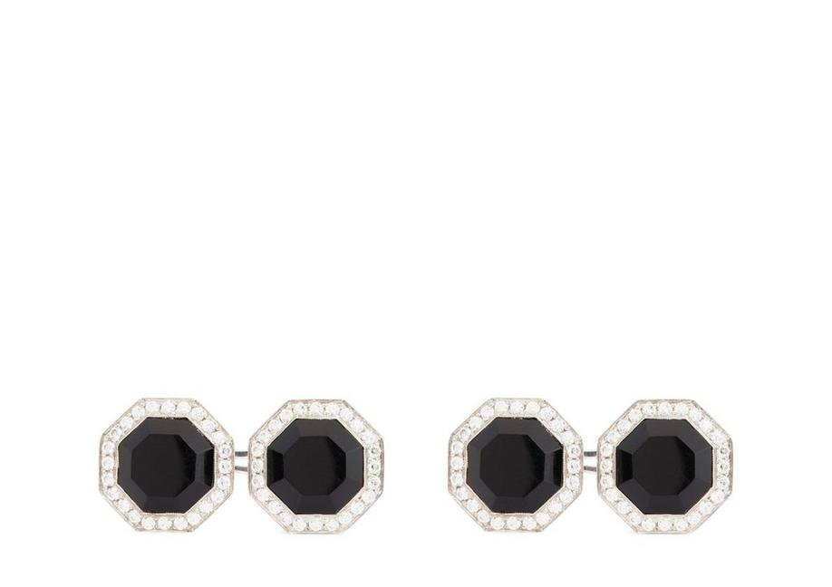 DIAMOND ONYX OCTAGON CUFFLINKS A fullsize