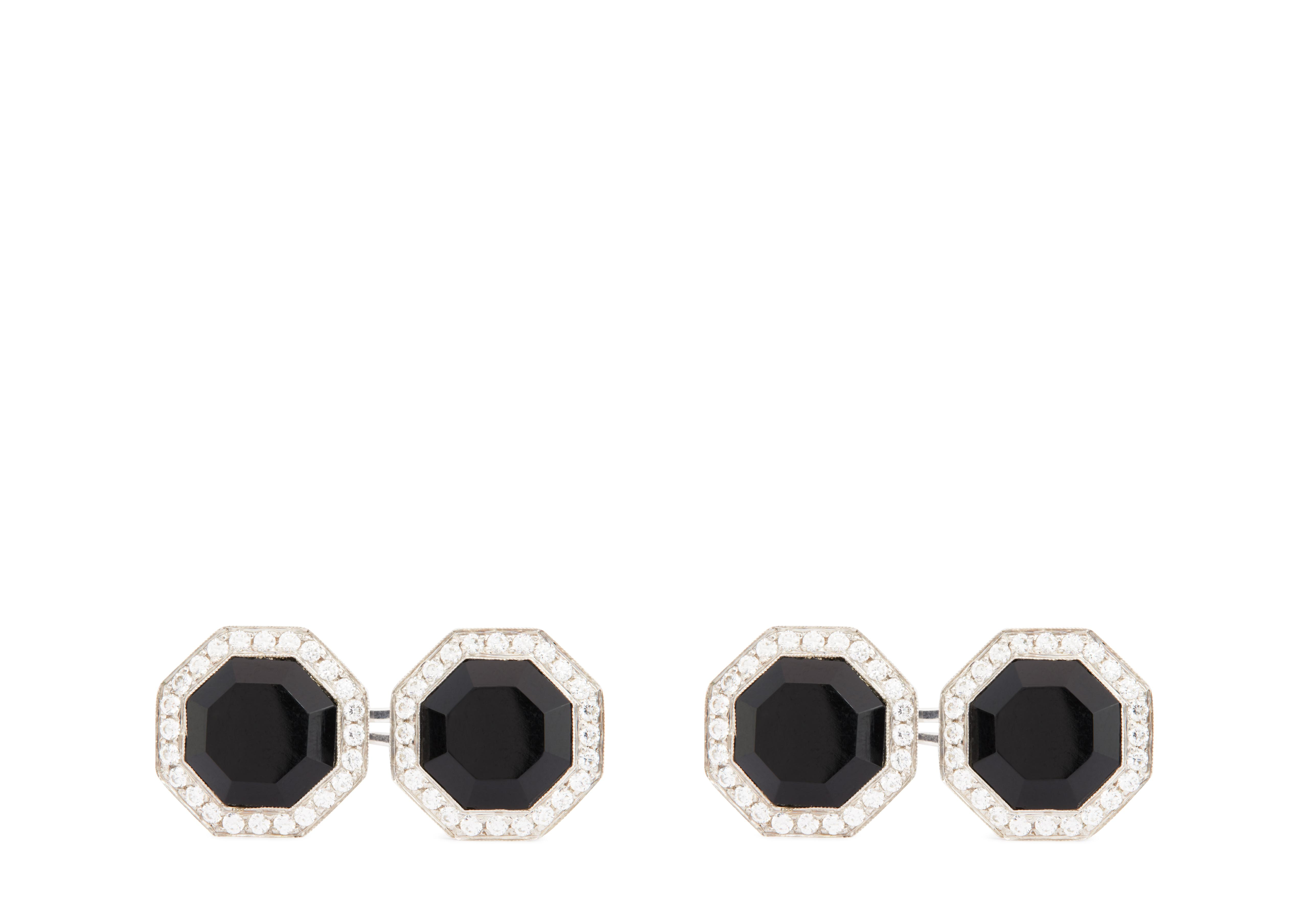 DIAMOND ONYX OCTAGON CUFFLINKS A thumbnail