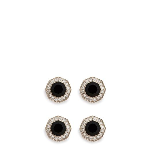 DIAMOND ONYX OCTAGON STUDS