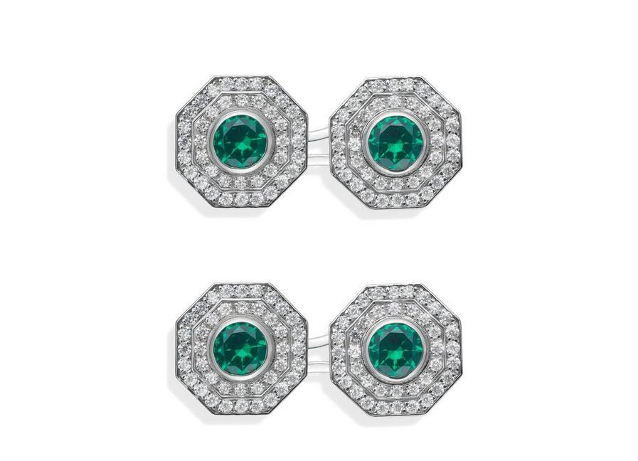 OCTAGON DIAMOND CUFFLINKS A fullsize