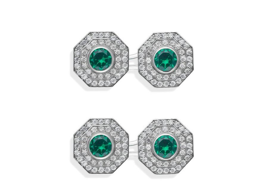 OCTAGON DIAMOND CUFFLINKS A fullsize