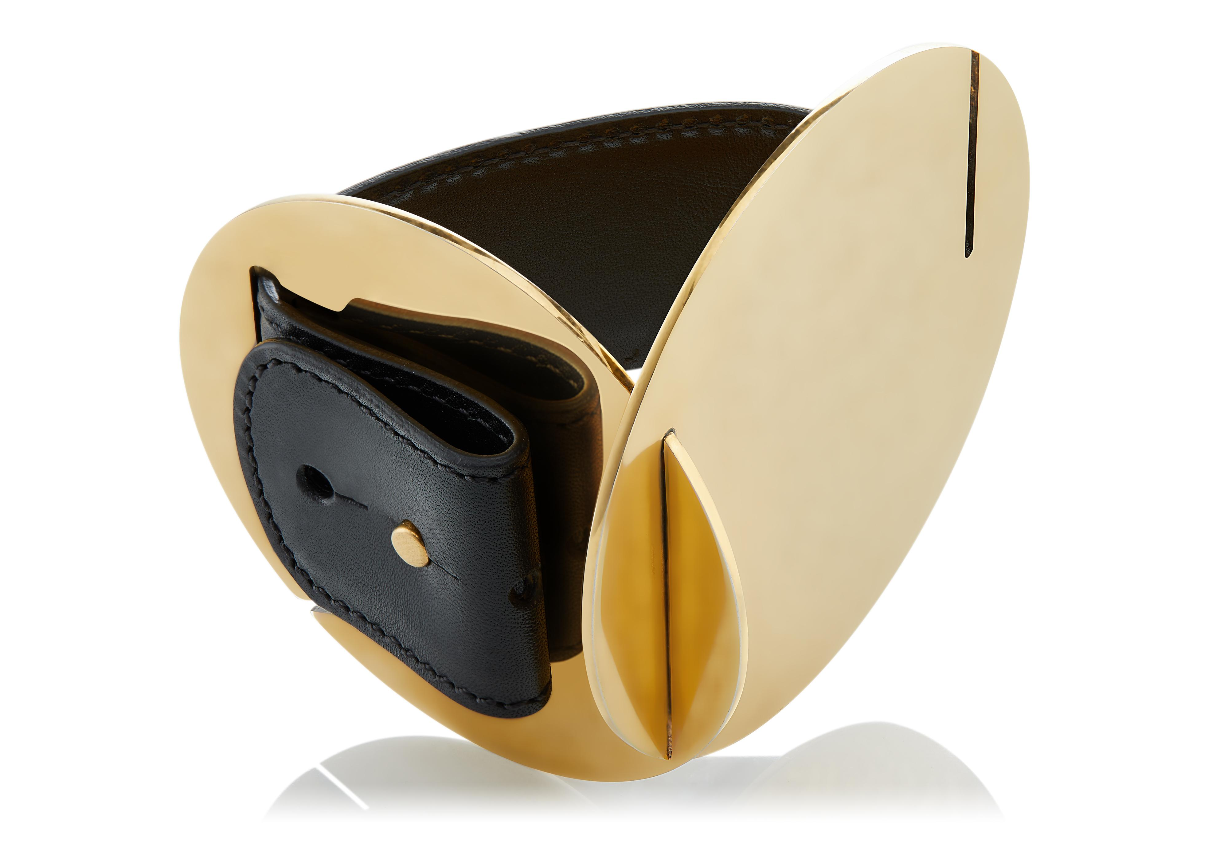 CUBIST TWO DISC CUFF WITH LEATHER STRAP B thumbnail