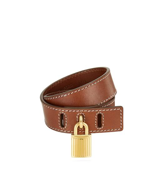 PADLOCK LEATHER WRAP BRACELET