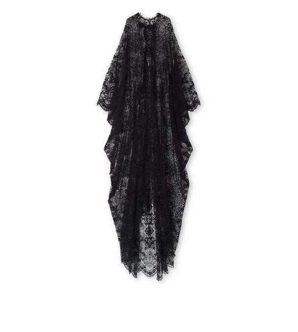 LIGHT FLORAL MACRAME' LONG KAFTAN A fullsize