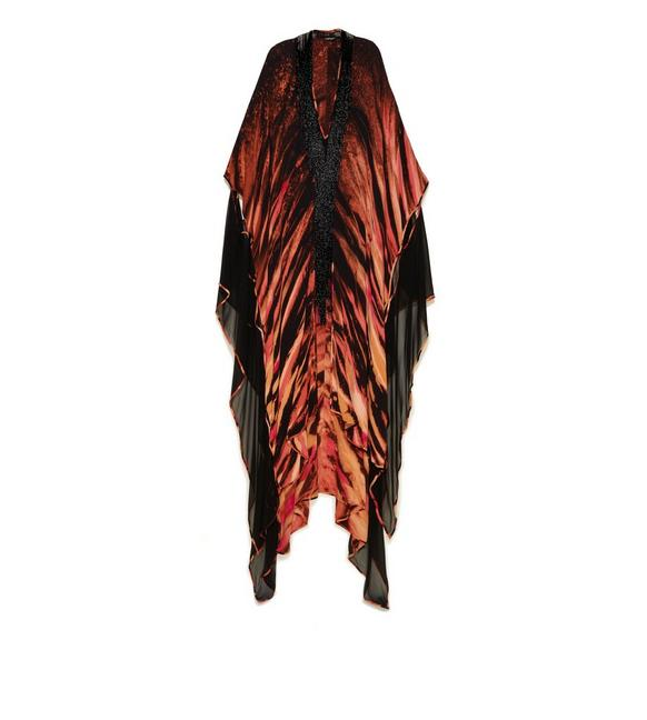 FLAME TIE-DYE ON SILK CREPE KAFTAN WITH JET GLASS CUT BEADS A fullsize