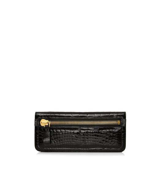 Jennifer Alligator Zip Clutch