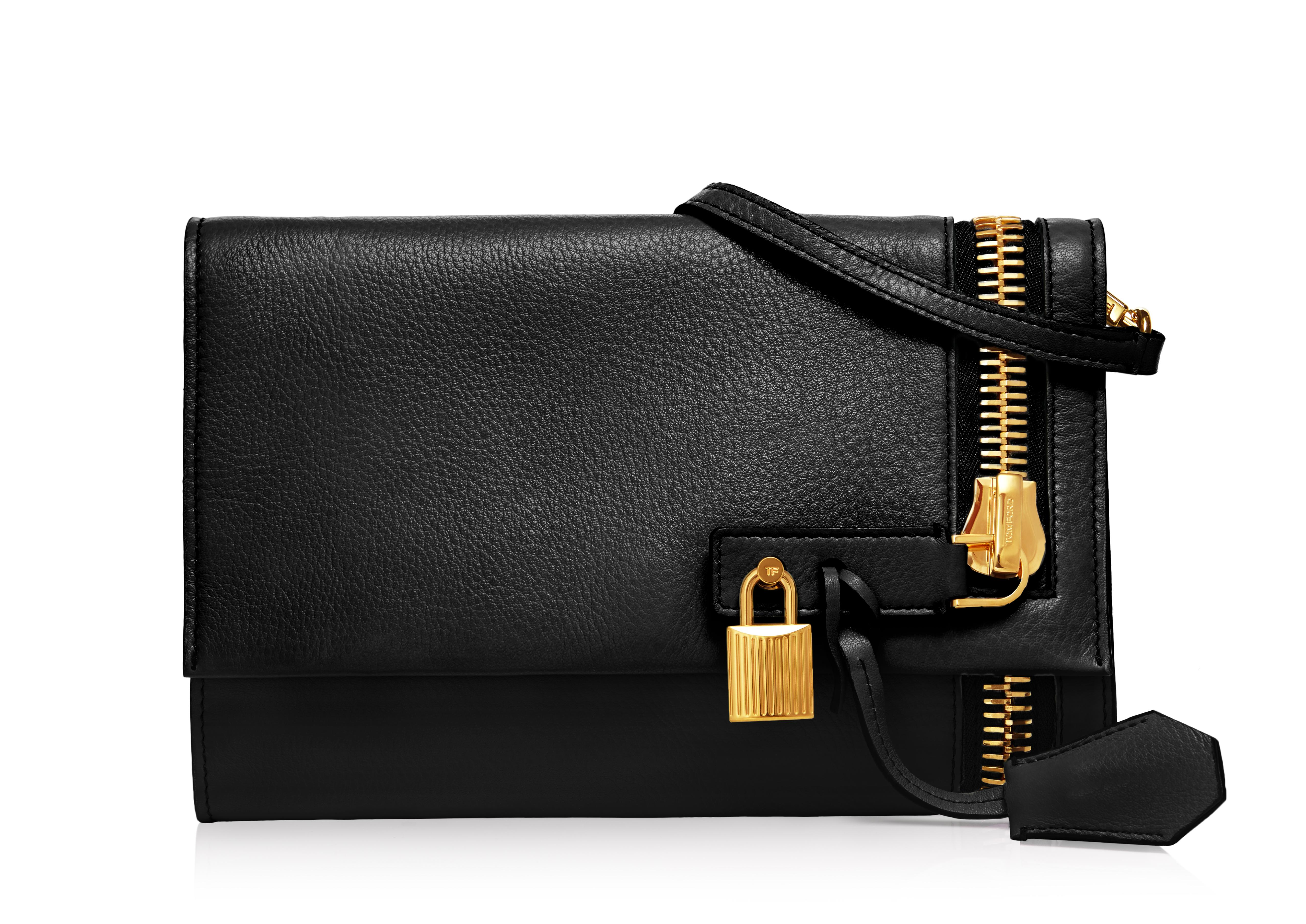 ALIX GRAINED LEATHER FLAP CLUTCH A thumbnail