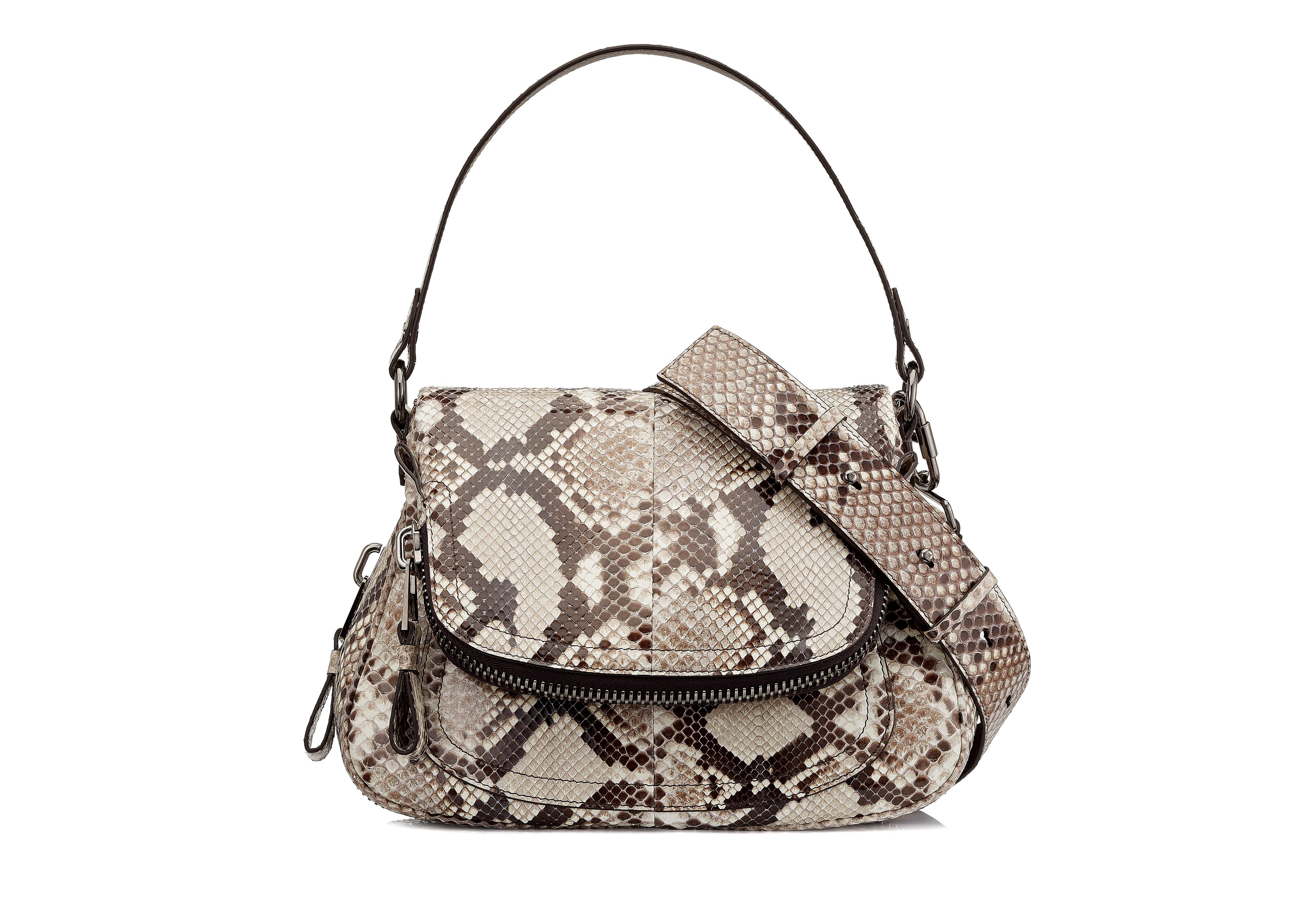 MEDIUM DOUBLE STRAP PYTHON JENNIFER A thumbnail