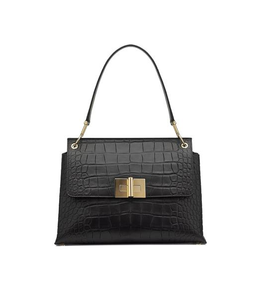 NATALIA HANDLE ALLIGATOR SHOULDER BAG