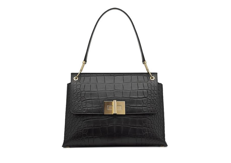 NATALIA HANDLE ALLIGATOR SHOULDER BAG A fullsize