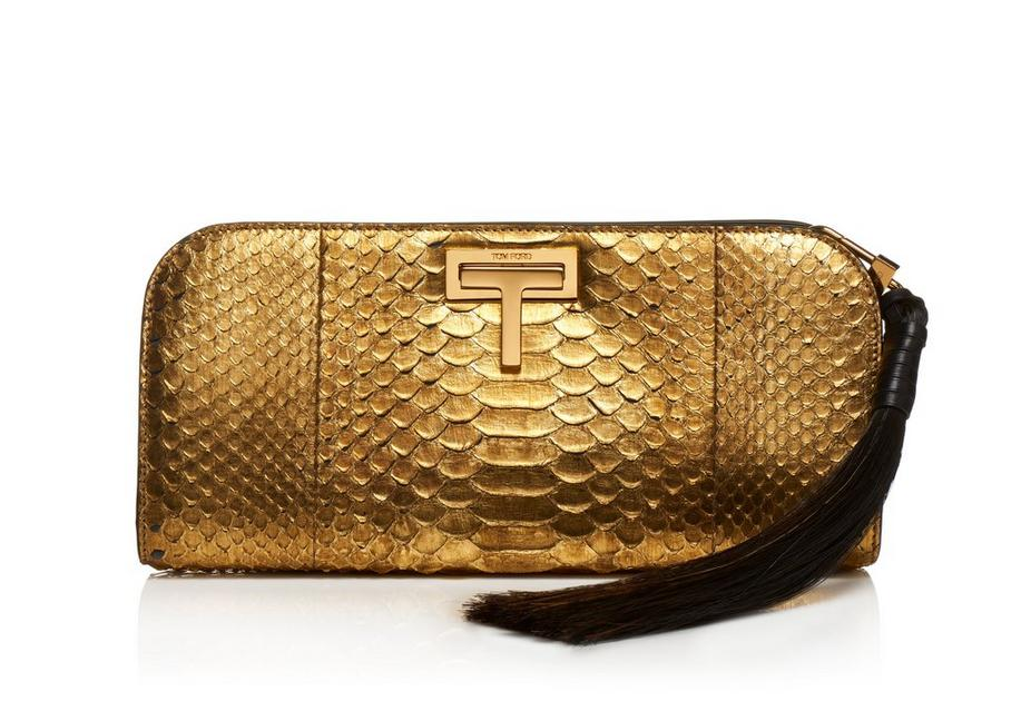 MEDIUM METALLIC PYTHON SASKIA CLUTCH A fullsize