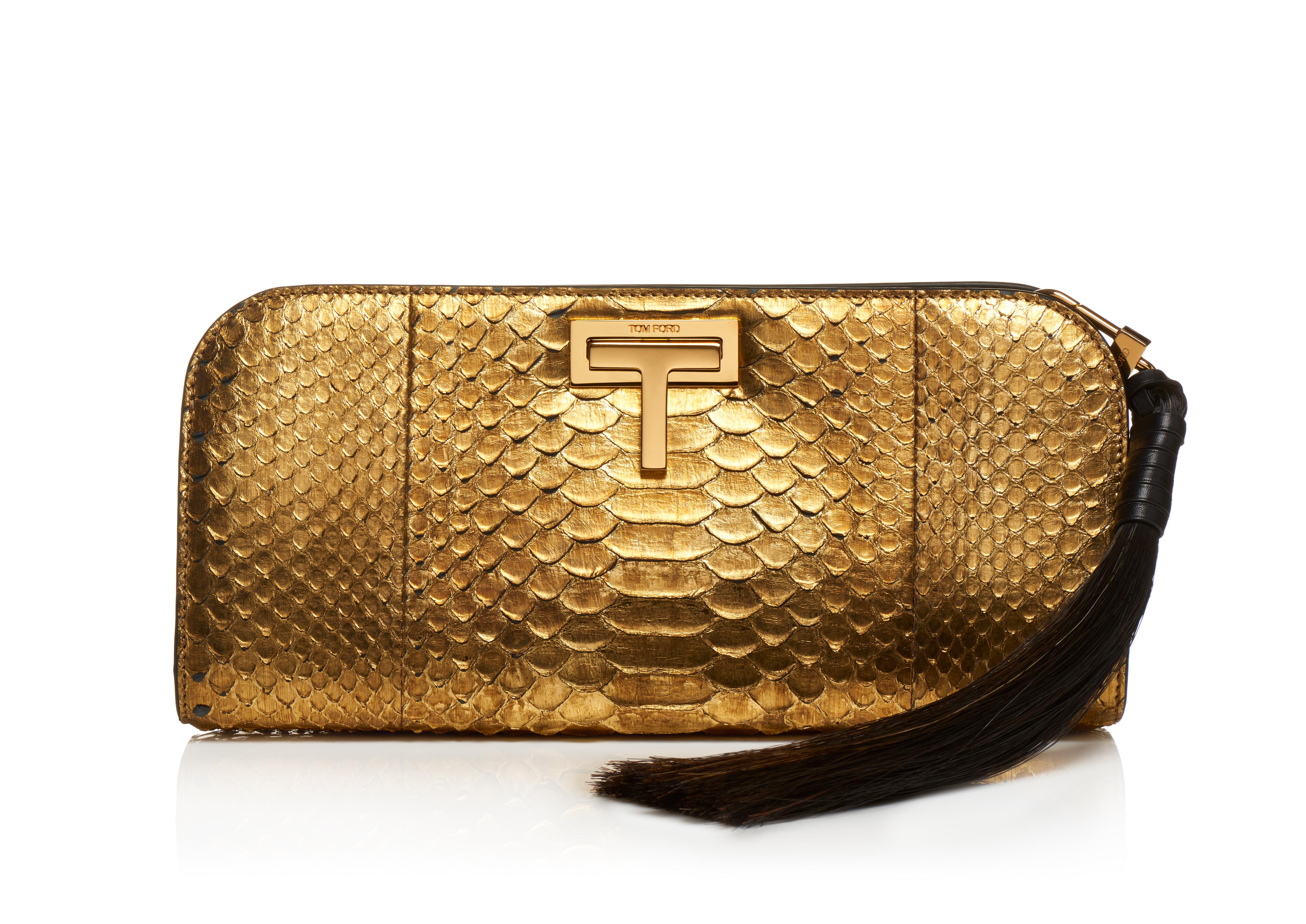 MEDIUM METALLIC PYTHON SASKIA CLUTCH A thumbnail