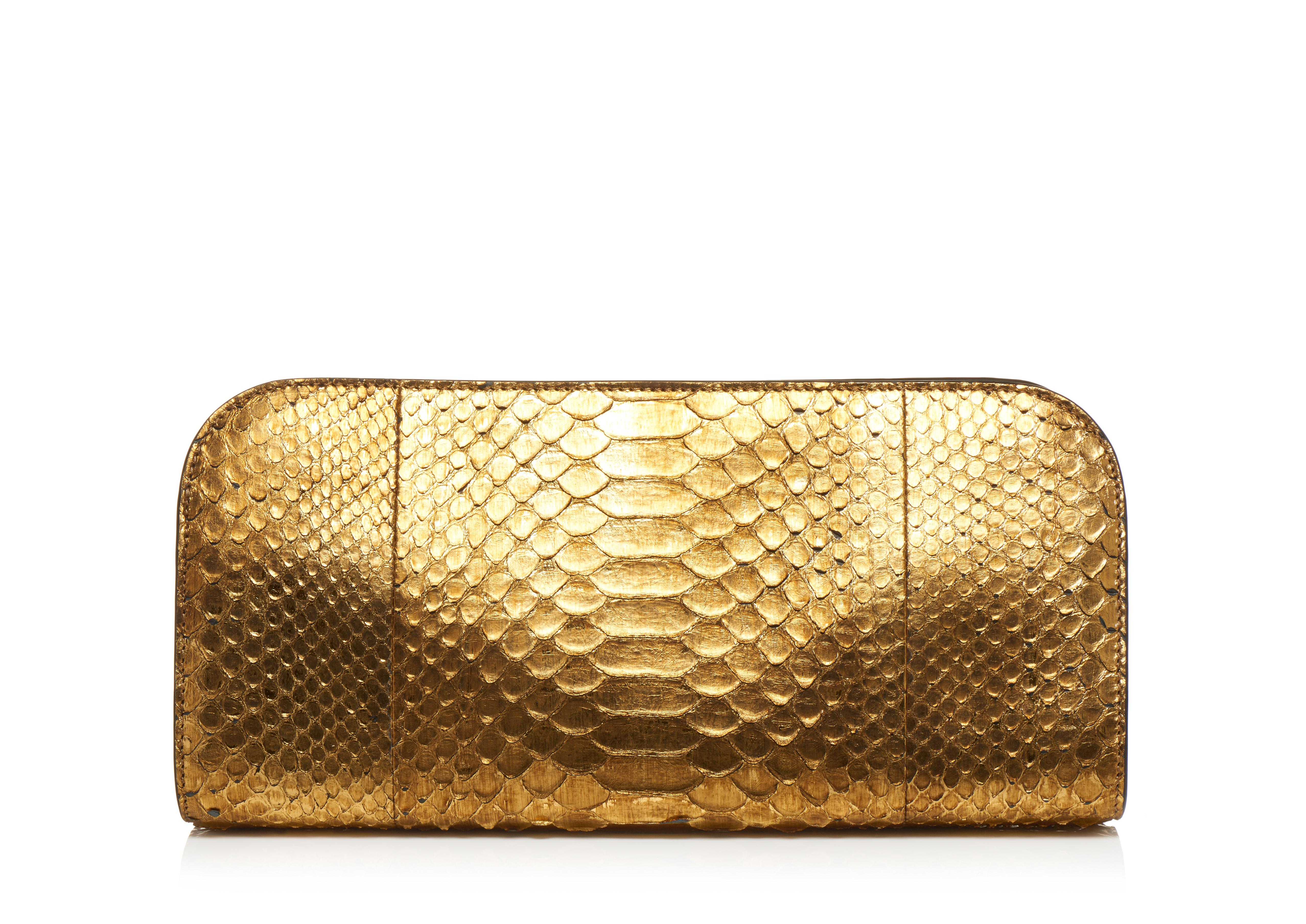 MEDIUM METALLIC PYTHON SASKIA CLUTCH C thumbnail