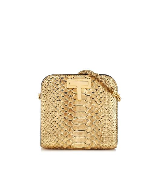 GOLD METALLIC PYTHON SASKIA CROSSBODY BAG