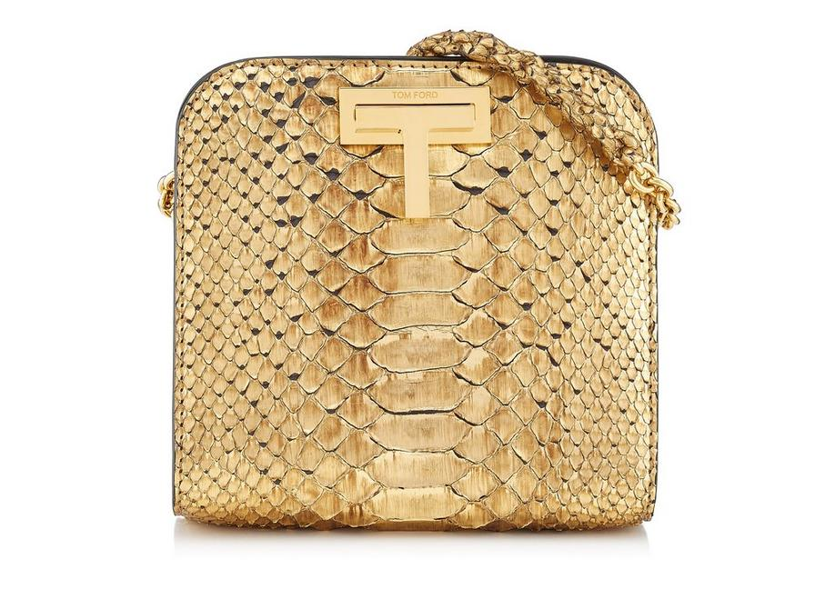 GOLD METALLIC PYTHON SASKIA CROSSBODY BAG A fullsize