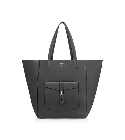GRAIN LEATHER T TWIST TOTE