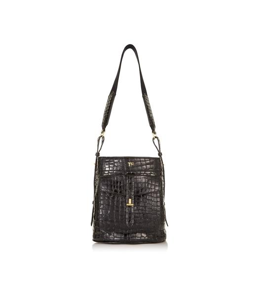 EMBOSSED CROCODILE BUCKET BAG