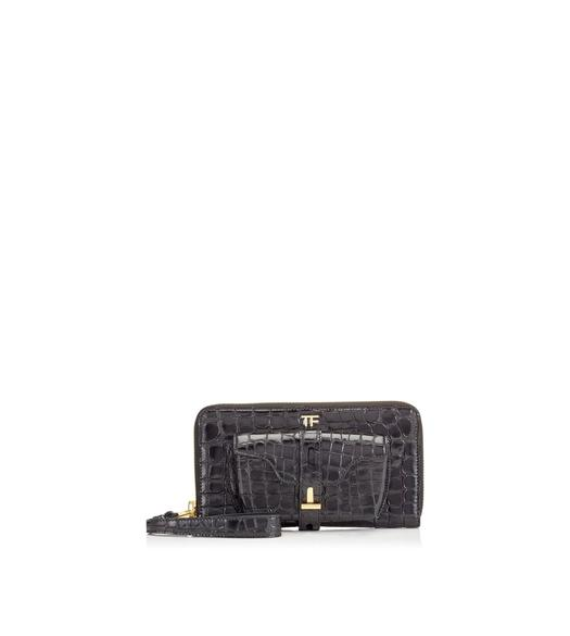 EMBOSSED CROCODILE T TWIST CLUTCH