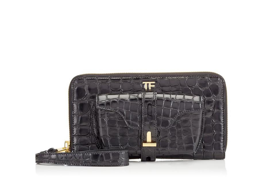 EMBOSSED CROCODILE T TWIST CLUTCH A fullsize
