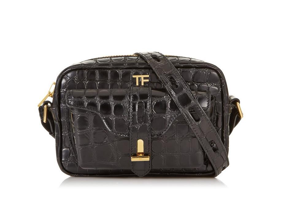 Embossed Leather T Twist Camera Bag by Tom Ford