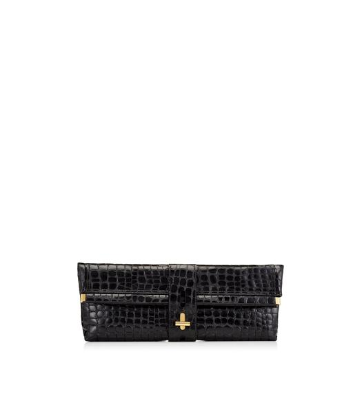 EMBOSSED CROCODILE T TWIST OVERSIZED CLUTCH