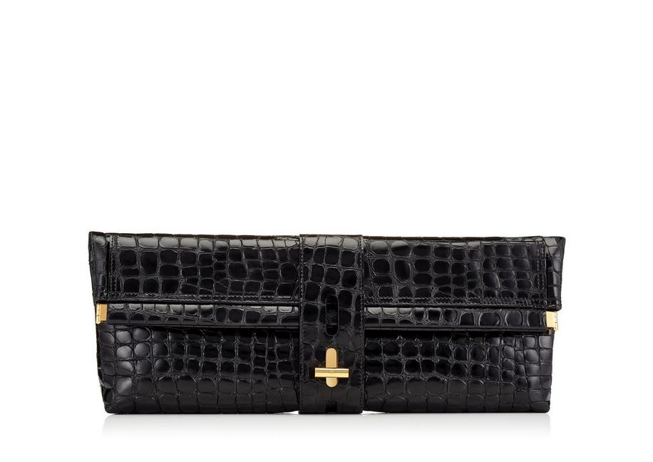 EMBOSSED CROCODILE T TWIST OVERSIZED CLUTCH A fullsize