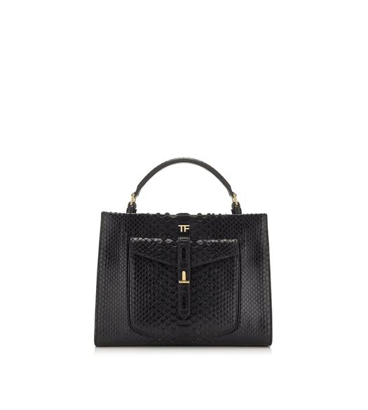 PYTHON T TWIST SMALL TOP HANDLE BAG