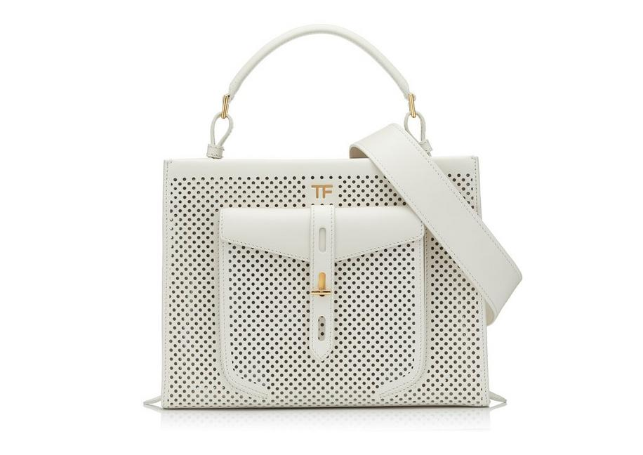 PERFORATED LEATHER T TWIST SMALL TOP HANDLE BAG A fullsize