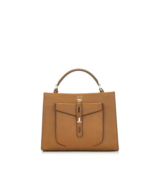 HOLLYWOOD LEATHER T TWIST SMALL TOP HANDLE BAG