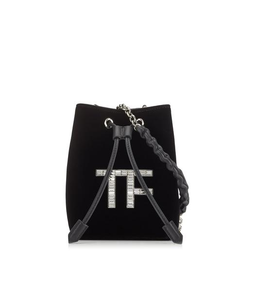 VELVET CRYSTAL TF MINI BUCKET BAG