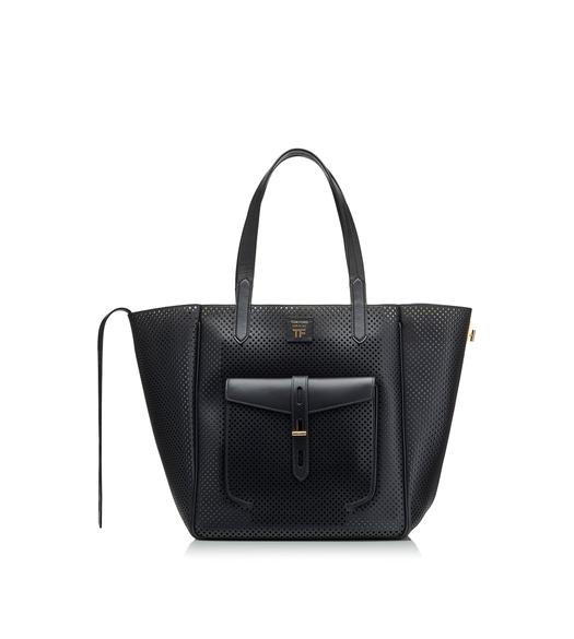 PERFORATED LEATHER MEDIUM T TWIST TOTE