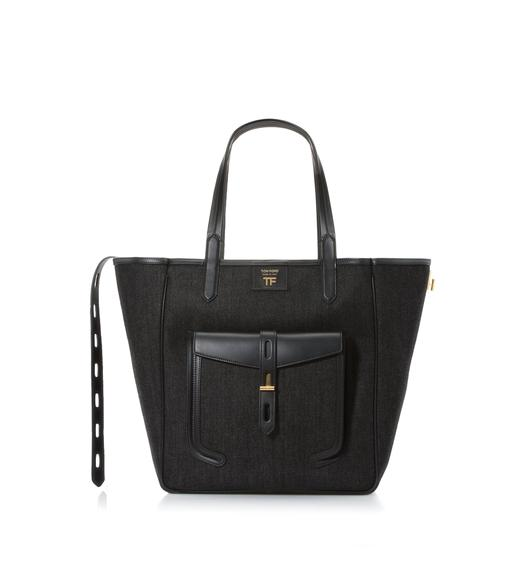 DENIM MEDIUM T TWIST TOTE