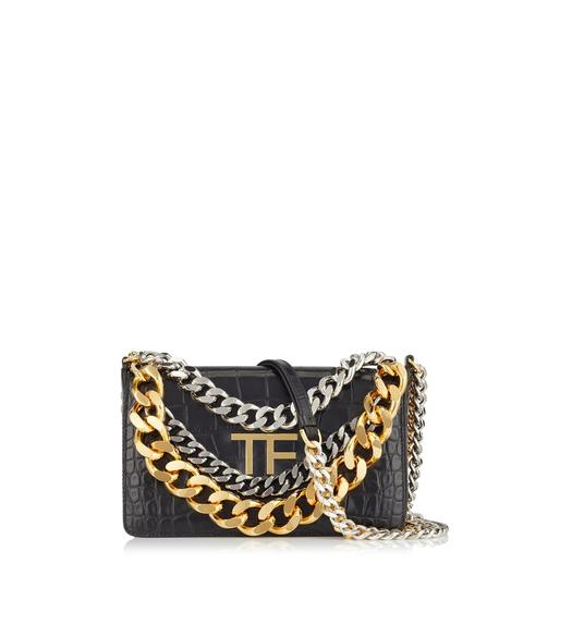 ALLIGATOR TRIPLE CHAIN BAG