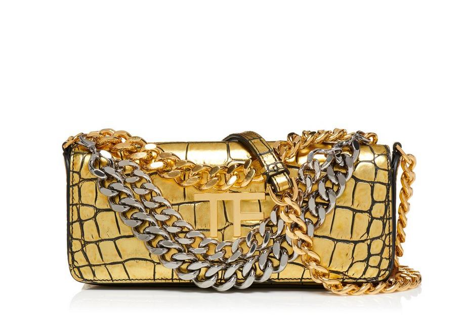 SMALL EMBOSSED CROCODILE TRIPLE CHAIN BAG A fullsize